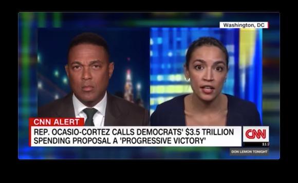 Representative Alexandria Ocasio-Cortez being interviewed by Don Lemon on CNN